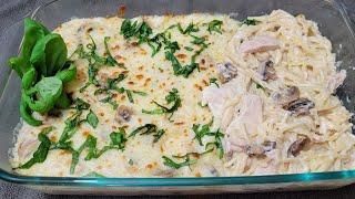 وصفة المعكرونة مع الدجاج بصوص البشاميل Chicken Spaghetti with Béchamel Sauce, Chicken Tetrazzini