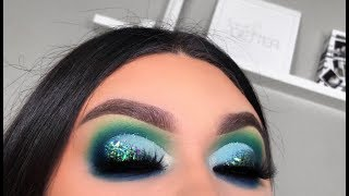 BLUE GLITTER  EYE MAKEUP TUTORIAL