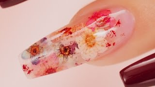 Real Flowers Inside Acrylic Coffin Nails