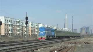 preview picture of video '[China Railway]Fuxin Coal Mine Railway DF5D Freight Train 阜新のディーゼル機関車東風5D貨物/客車列車'