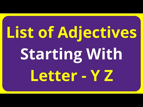 List of Adjectives Words Starting With Letter - Y Z
