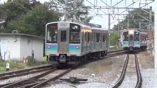 【並走入線】姨捨駅(篠ノ井線) 山岳スイッチバック駅 列車行き違いの様子ノーカット