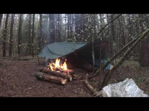 🌲Экстремальный Кемпинг с Ночевкой | Сутки под Дождем • Extreme camping overnighter | Heavy rain