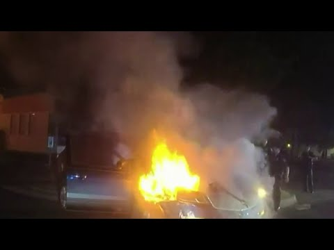 Westland police forcibly save man from burning car