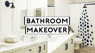 EXTREME BATHROOM MAKEOVER! CHEAP & EASY DIY MARBLE COUNTERTOPS!