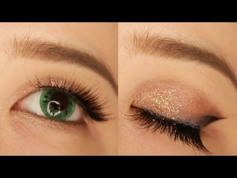Glittery Halo Cat Eye Monolid Makeup Tutorial