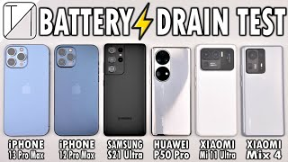 iPhone 13 Pro Max vs 12 Pro Max / S21 Ultra / P50 Pro / Mi 11 Ultra / Mix 4 Battery Life DRAIN Test!