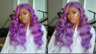 Glueless Frontal Sew In With Shades Of Purple Hair