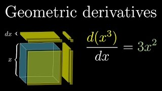A few derivative formulas, such as the power rule and the derivative of sine, demonstrated with geometric intuition.Check out Brilliant: https://brilliant.org/3b1bFull playlist: http://3b1b.co/calculusSupport for these videos comes primarily from Patreon:https://patreon.com/3blue1brownSpecial thanks to the following Patrons:  http://3b1b.co/eoc3-thanks------------------3blue1brown is a channel about animating math, in all senses of the word animate.  And you know the drill with YouTube, if you want to stay posted about new videos, subscribe, and click the bell to receive notifications (if you're into that).If you are new to this channel and want to see more, a good place to start is this playlist: http://3b1b.co/recommendedVarious social media stuffs:Website: https://www.3blue1brown.comTwitter: https://twitter.com/3Blue1BrownPatreon: https://patreon.com/3blue1brownFacebook: https://www.facebook.com/3blue1brownReddit: https://www.reddit.com/r/3Blue1Brown