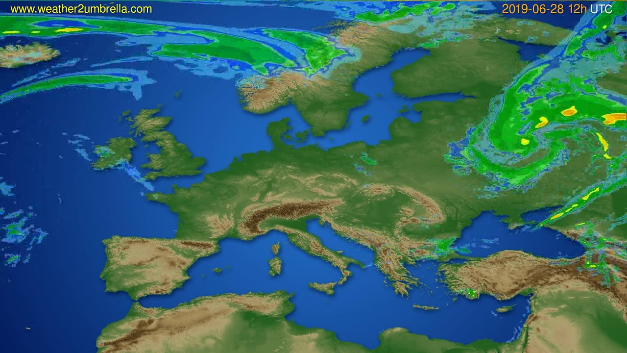 Radar forecast Europe // modelrun: 00h UTC 2019-06-28
