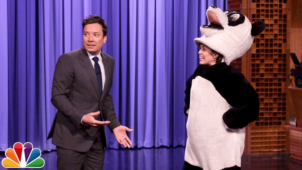 Miley Cyrus Crashes The Tonight Show as Hashtag the Panda thumbnail