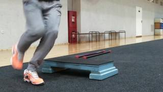 Запрыгивания-спрыгивания на стэп на одной ноге различными способами