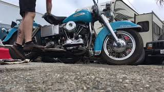 1968 Harley Davidson FLH Shovelhead first start after 15 years