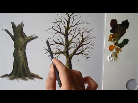 How to paint a tree trunk lesson 2