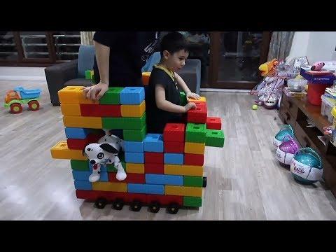 Renkli Bloklar ile Lunaparka Gitmek için Kendi Arabamızı Yaptık Komik Çocuk Videosu Bidünya Oyuncak