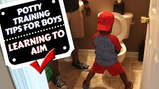 EASY POTTY TRAINING A BOY TIPS || Standing Up & Learning How to Aim