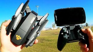 Visuo XS809HW Altitude Hold Folding FPV 720p HD Camera Drone Flight Test Review