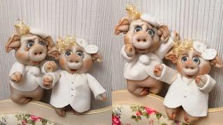 Мастер класс. Глаша и Гаврюша. Свинки из капрона.