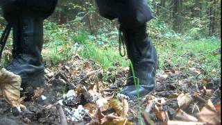 army boots stomp food in the mud