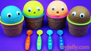 4 Colors Play Doh Ice Cream Cups HATCHIMALS Kinder Surprise Egg Shopkins Fun for Kids
