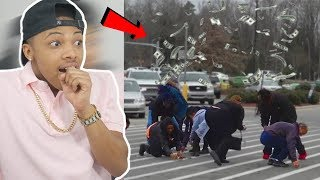Dropping $10,000 From A Drone On Random People Reaction