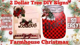 2 Dollar Tree DIY Signs | Farmhouse Christmas Decor | Buffalo Check | Ship-Lap | Christmas 2019