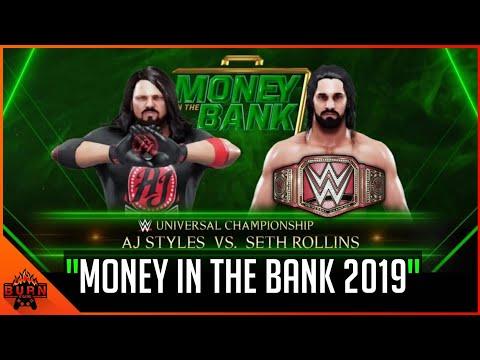 WWE 2K19 SETH ROLLINS VS AJ STYLES UNIVERSAL CHAMPIONSHIP MATCH [ MONEY IN THE BANK 2019 ] PS4