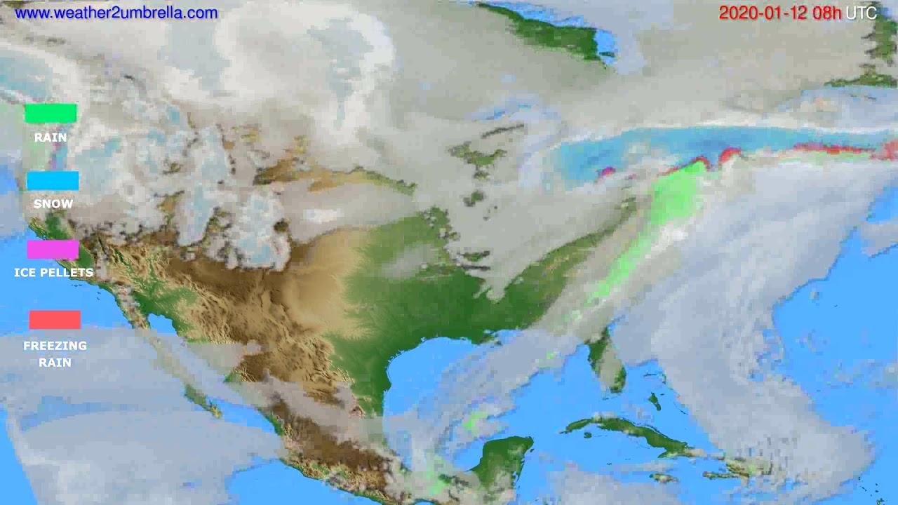 Precipitation forecast USA & Canada // modelrun: 12h UTC 2020-01-11