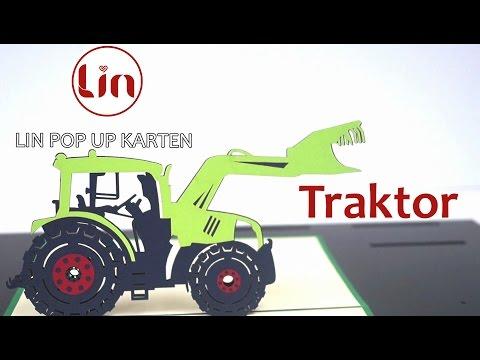 Pop Up 3D Karte zum Geburtstag - 3D Klappkarte Traktor