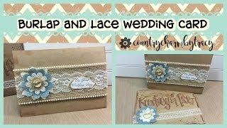 Burlap And Lace Rustic Wedding Card || Country Charm By Tracy