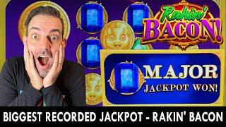 😱 BIGGEST RECORDED JACKPOT for RAKIN' BACON - High Limit Slots