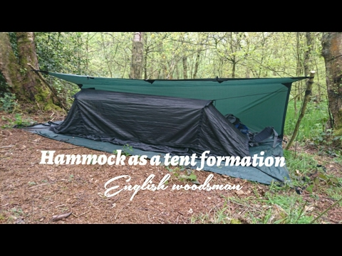 DD hammock setup as a tent formations with DD 3x3 trap as a ground sheet and rain cover