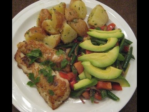 Video Fish Fillet w/ Boiled Potato & Beans N Avocado Salad - Healthy Recipe