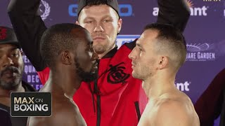 Crawford vs. Mean Machine, Teofimo Lopez vs. Richard Commey weigh-ins & staredowns | Top Rank Boxing