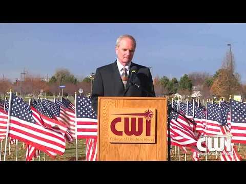 Ret. Lt. Gen. Mark Schmidt speaks at CWI Veterans Day 11 10 2017