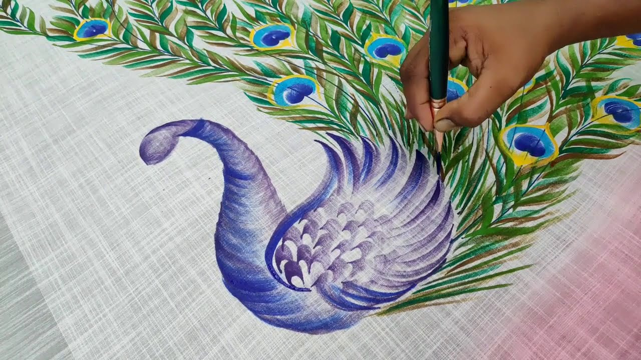 fabric painting peacock  mural painting in saree by balashankar