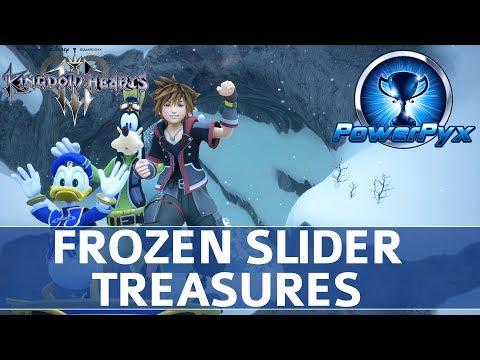 Kingdom Hearts 3 - Frozen Slider Minigame All 10 Treasure Locations (Orichalcum+)