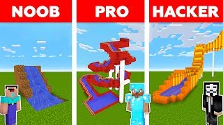 Minecraft NOOB vs PRO vs HACKER : WATER SLIDE CHALLENGE in minecraft / Animation