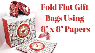 8 X 3 X 7 Fold Flat Gift Bags Using 8 X 8 Papers | Craft Fair Seller