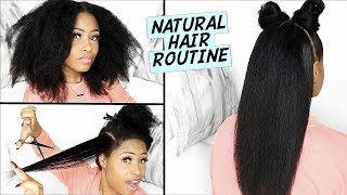Easy BLOWDRY, STRAIGHTEN & TRIM Routine on NATURAL HAIR! ➟(healthy, bouncy & lustrous)