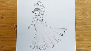 How To Draw A Girl With Beautiful Dress /Pencil Sketch Step By Step