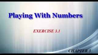 Playing With Numbers 3.1