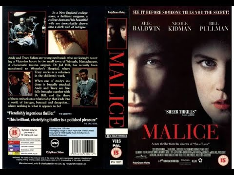 Oriignal VHS Opening: Malice (1994 UK Rental Tape)