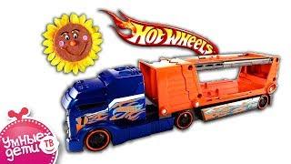 Машинки. Hot Weels Автотранспортер -  Сумаcшедшее столкновение. Обзор / review. Машинки для детей