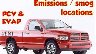 PCV, EVAP canister, purge valve Locations. Dodge Ram