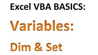 Excel VBA Basics #9 - Declaring variables with DIM and using SET to abbreviate worksheet name