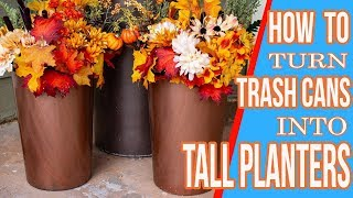 How To Make Tall Planters From Trash Cans And Fall Dollar Store Flowers