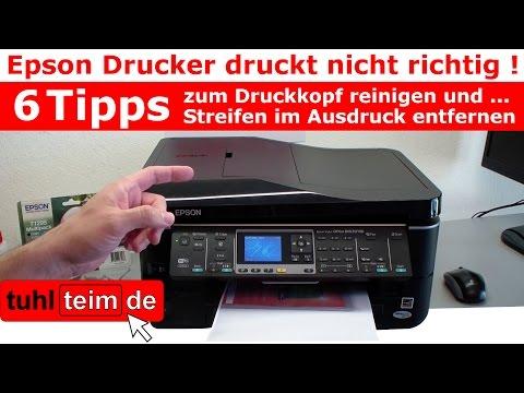 Epson Drucker druckt nicht richtig - Druckkopf reinigen - Streifen im Ausdruck entfernen