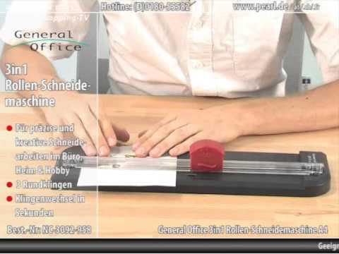 General Office 3in1 Rollen-Schneidemaschine A4 mit 3 Klingenformen