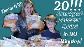 😎20 Dump & Go CHICKEN Crockpot Freezer Meals Done In 90 Minutes